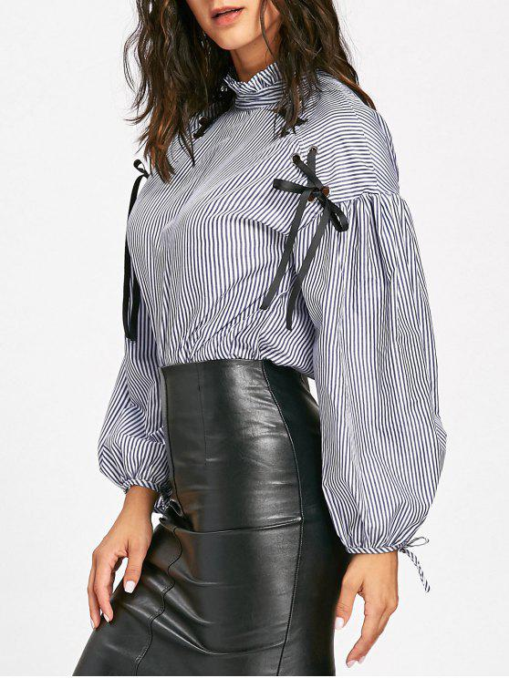 outfit Lace Up Drop Shoulder Striped Blouse - BLUE S