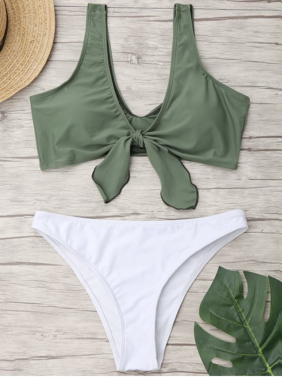 Riemchen Zweifarbiger Hohe Schlitz Badeanzug - Grün L
