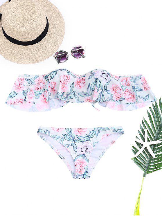Floral Bügel aus dem Schulter Bikini Set - Blumen S