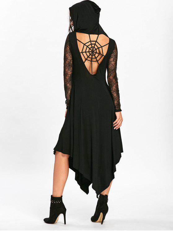 Halloween Spider Web Ausschnitt Midi Taschentuch Kleid - Schwarz XL