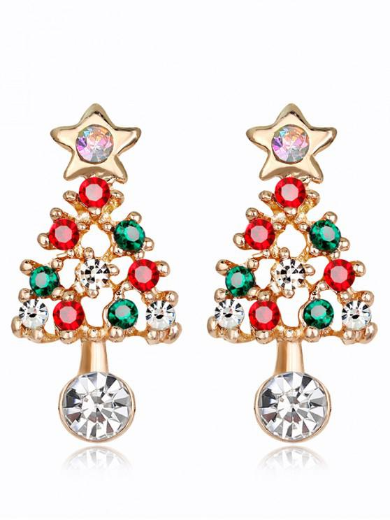 new Acrylic Rhinestone Hollow Out Christmas Tree Earrings - COLORMIX