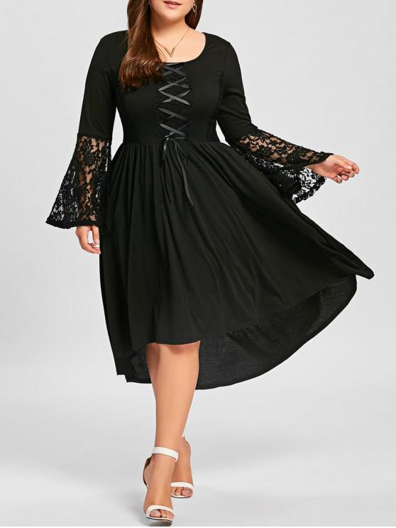ebeefd89bf8 2019 Plus Size Lace Panel Lace Up High Low Dress In BLACK XL