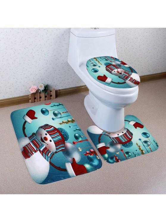buy Christmas Baubles Snowman Pattern 3 Pcs Toilet Mat Bath Mat - COLORMIX