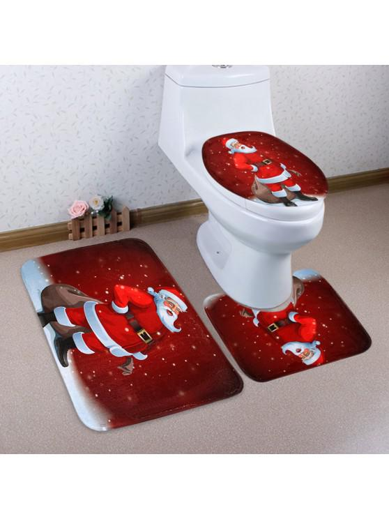 womens Christmas Santa Claus Pattern 3 Pcs Toilet Mat Bath Mat - RED