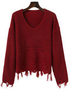 V Neck Hollow Out Ripped Sweater - Deep Red