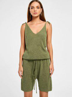 Drawstring Self Tie V Neck Knitted Romper - Grass Green