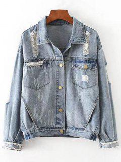 Button Up Ripped Denim Jacket With Pockets - Denim Blue S