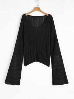 Oversized V Neck High Low Sweater - Black