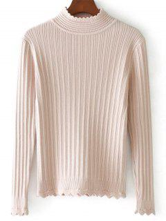 Zigzag Hem High Neck Ribbed Sweater - Light Pink