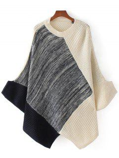 Dolman Sleeve Contrast Asymmetric Sweater - Multi