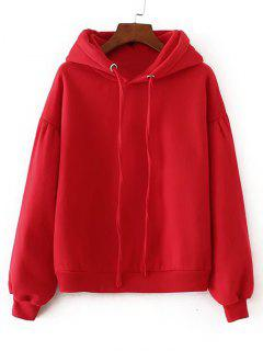 Casual Oversized Padded Hoodie - Red L