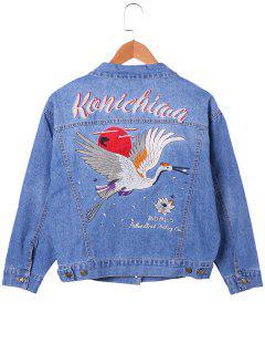 Embroidery Gruidae Jean Jacket - Denim Blue L