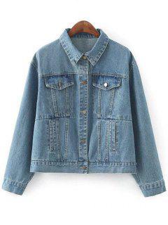 Denim Jacket With Pockets - Denim Blue M