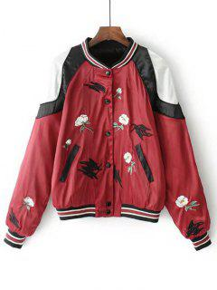 Button Up Floral Embroidered Baseball Jacket - Red M
