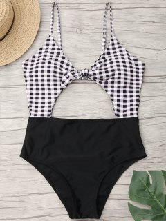 Cut Out Checked One Piece Swimwear - Black M