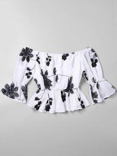 Flare Sleeve Off Shoulder Floral Embroidered Blouse - White L