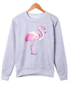 Gruidae Pattern Marled Sweatshirt - Gray M
