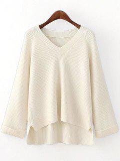 V Neck Side Slit High Low Sweater - Off-white
