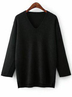V Neck Side Slit Pullover Sweater - Black