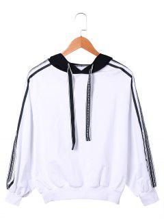 Two Tone Drawstring Neck Hoodie - White And Black S
