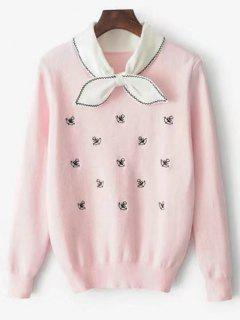 Anchor Graphic Bowknot Embellished Sweater - Pink