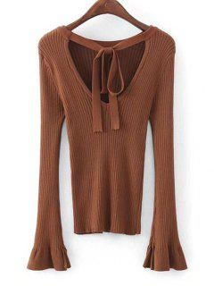 Flare Sleeve Bow Tie Knitted Top - Brown