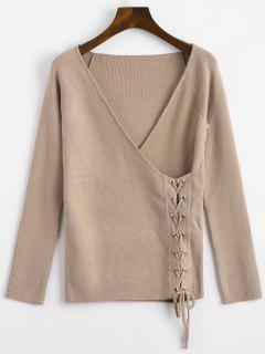 Crossed Front Lace Up V Neck Sweater - Khaki