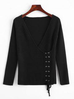 Crossed Front Lace Up V Neck Sweater - Black