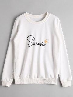 Crew Neck Summer Letter Sweatshirt - White S