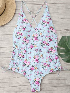Floral Cross Back Plus Size Swimwear - Light Blue Xl