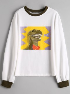 Graphic Preppy Sweatshirt - White