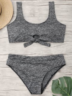 Tied Heathered Plus Size Bikini Deportivo - Gris Xl