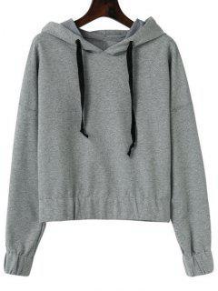 Einfaches Hoodie Mit Kordelzug Und Drop Schulter - Grau M
