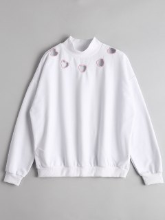 High Neck Heart Cut Out Sweatshirt - White L