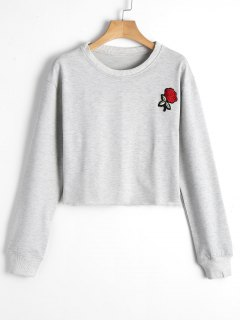Cropped Rose Patches Sweatshirt - Gray L