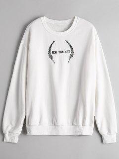 Crew Neck Letter Embroidered Sweatshirt - White