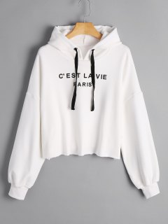 Cropped French Paris Print Hoodie - White M