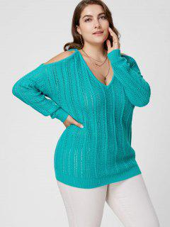 Plus Size Open Knit Cold Shoulder Sweater - Blue Green 5xl