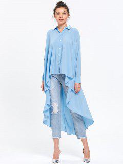 Chemise Avec Longue Queue Légère Haute-Basse - Bleu Clair 2xl