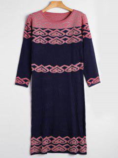 Jacquard Long Sleeve Rhinestoned Sweater Dress - Purplish Blue