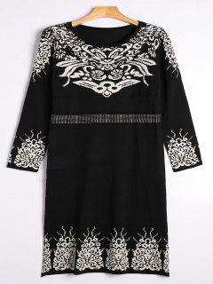 Rhinestoned Jacquard Sweater Midi Dress - Black