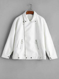 Drop Shoulder Asymmetric Zipper Faux Leather Jacket - White S