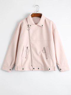 Drop Shoulder Asymmetric Zipper Faux Leather Jacket - Light Pink L