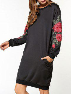 Flower Applique Sweatshirt Dress - Black 2xl