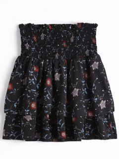 Smocked Floral Tiered High Waisted Skirt - Black S