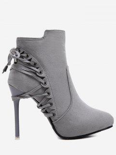 Pointed Toe Eyelet Stiletto Ankle Boots - Gray 34