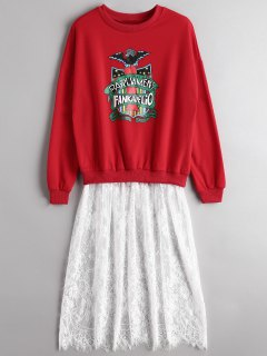 Graphic Lace Panel Longline Sweatshirt - Red