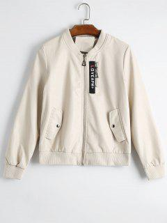 Badge Patched Faux Leather Jacket - Apricot S