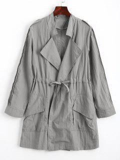 Ruffles Trim Belted Trench Coat - Gray M
