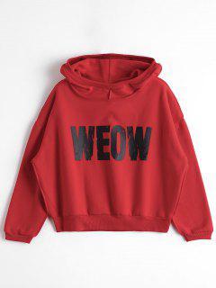 Fleeced Letter Weow Hoodie - Red S